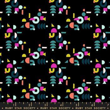 Adorn Puzzling Geometric Black Ruby Star Society Rashida Coleman-Hale Cotton Fabric RS1022 17