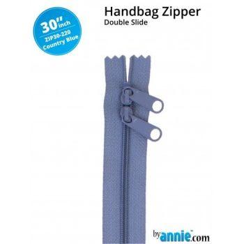 "By Annie 30"" Handbag Zipper Double Slide Country Blue Zip"