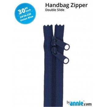 """By Annie 30"""" Handbag Zipper Double Slide Union Blue Zip"""