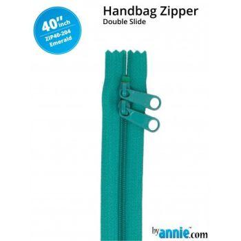 "By Annie 40"" Handbag Zipper Double Slide Emerald Zip"