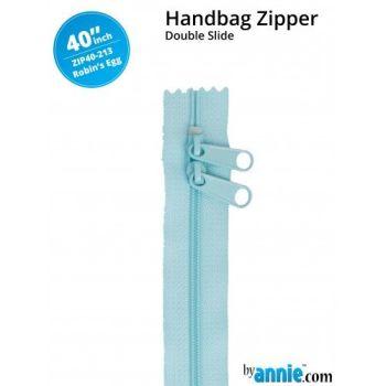 "By Annie 40"" Handbag Zipper Double Slide Robin's Egg Zip"