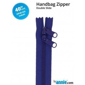 """By Annie 40"""" Handbag Zipper Double Slide Cobalt Zip"""