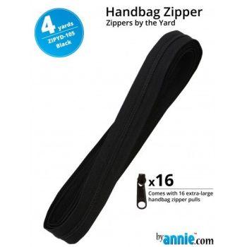 By Annie Zippers By The Yard 4 Yard Pack - Black plus 16 Matching Pulls Handbag Zipper Zip