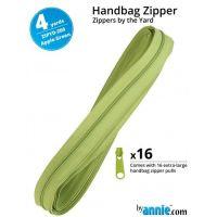 By Annie Zippers By The Yard 4 Yard Pack - Apple Green plus 16 Matching Pulls Handbag Zipper Zip