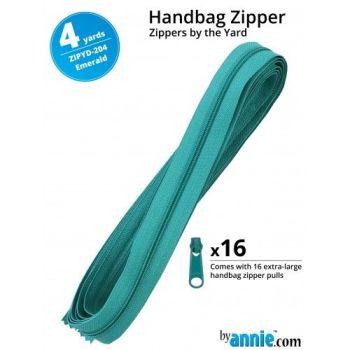 By Annie Zippers By The Yard 4 Yard Pack - Emerald plus 16 Matching Pulls Handbag Zipper Zip