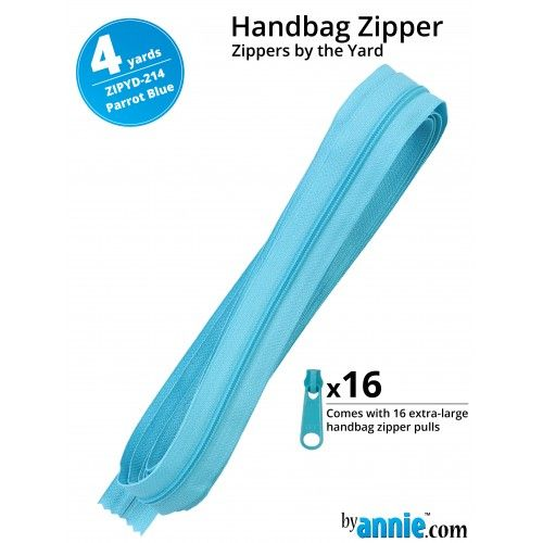 By Annie Zippers By The Yard 4 Yard Pack - Parrot Blue plus 16 Matching Pul