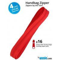 By Annie Zippers By The Yard 4 Yard Pack - Atom Red plus 16 Matching Pulls Handbag Zipper Zip