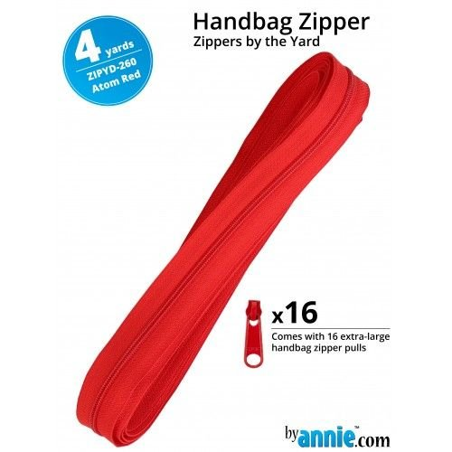 By Annie Zippers By The Yard 4 Yard Pack - Atom Red plus 16 Matching Pulls