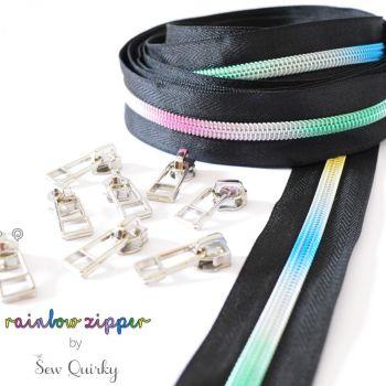 Sew Quirky Rainbow #5 Zipper Black - 3 Metre Continuous Length Handbag Zipper Zip