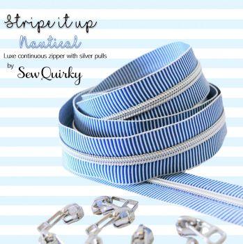 Sew Quirky Stripe It Up Nautical #5 Zipper - 3 Metre Continuous Length Handbag Zipper Zip