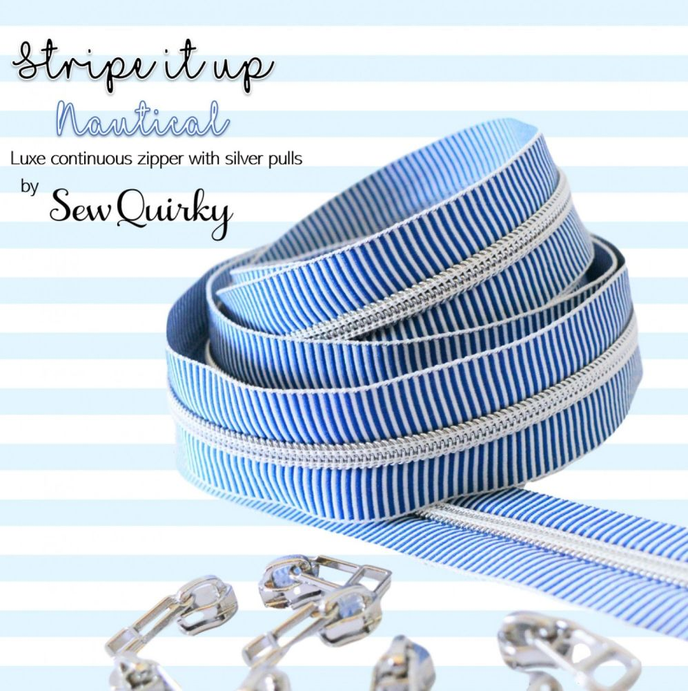 Sew Quirky Stripe It Up Nautical #5 Zipper 3 Metre Pack Handbag Zipper Zip