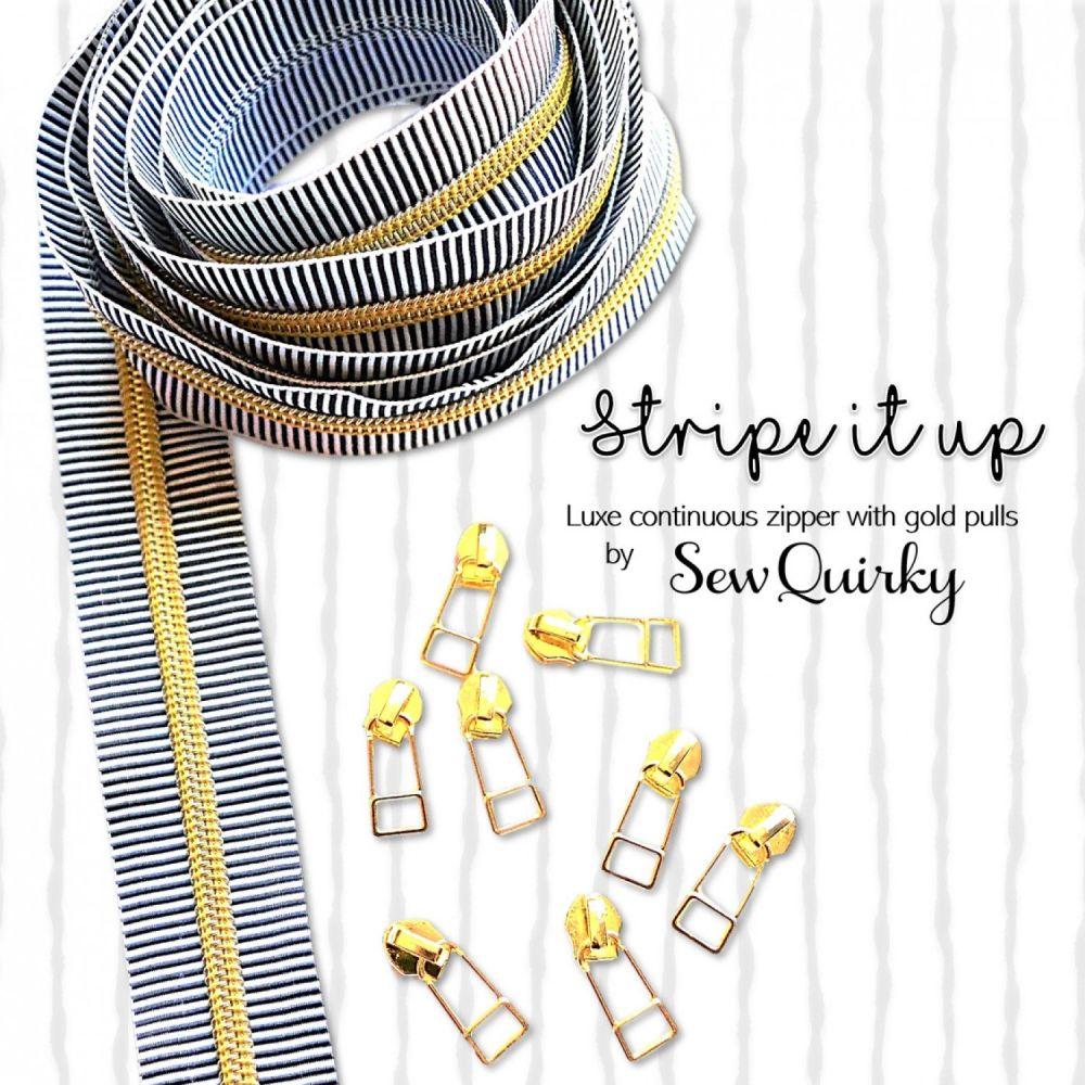 Sew Quirky Stripe It Up #5 Zipper 3 Metre Pack Handbag Zipper Zip