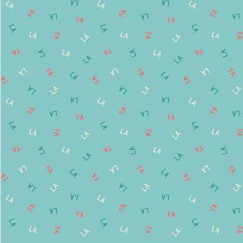 DESTASH 1m Figo Polar Magic Christmas Fa La La Mint Festive Text Cotton Fabric