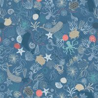 Thalassophile Under The Sea Whale Sea Creatures Turtle Shell Lewis and Irene Cotton Fabric A463.3