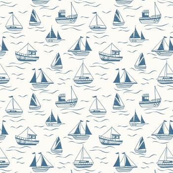 Thalassophile Boats on Cream Sailing Boats Nautical Lewis and Irene Cotton Fabric A467.1