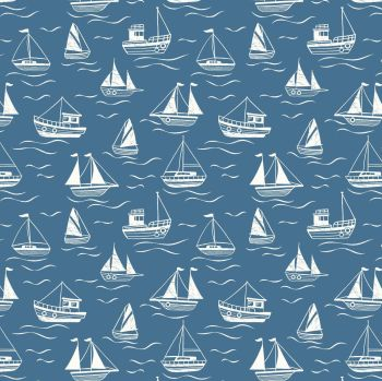 Thalassophile Boats on Dark Blue Sailing Boats Nautical Lewis and Irene Cotton Fabric A467.3