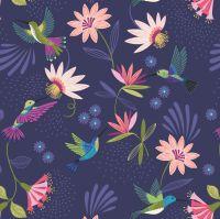 Hummingbird Hummingbirds on Dark Blue Bird Tropical Floral Botanical Lewis and Irene Cotton Fabric A429.3