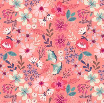 Hummingbird Summer Floral on Dark Blush Bird Tropical Floral Botanical Lewis and Irene Cotton Fabric A430.2