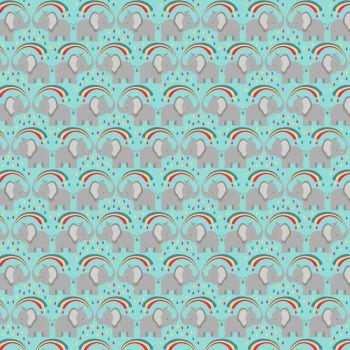 Rainbows Rainbow Elephants on Blue Lewis and Irene Cotton Fabric A443.2