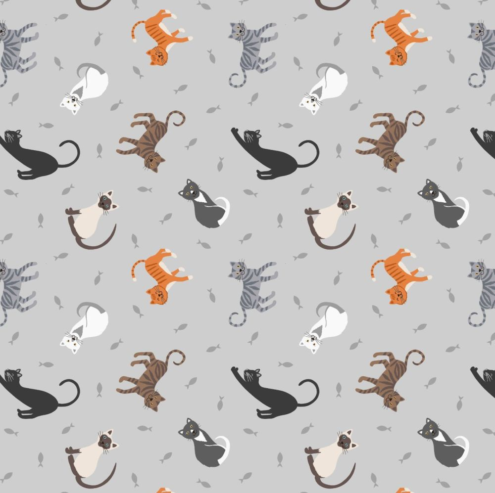 Small Things Pets Cats on Pale Grey Lewis and Irene Cats Kittens Fishes Cot