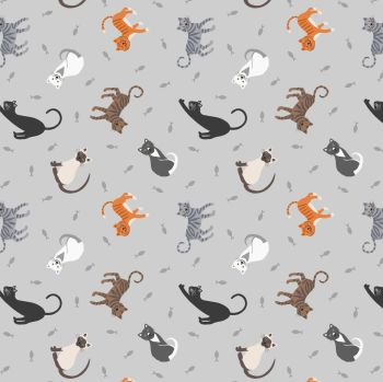Small Things Pets Cats on Pale Grey Lewis and Irene Cats Kittens Fishes Cotton Fabric SM28.1