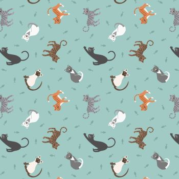 Small Things Pets Cats on Light Blue Lewis and Irene Cats Kittens Fishes Cotton Fabric SM28.3