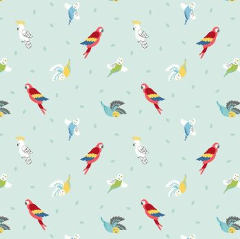 Small Things Pets Birds on Light Peppermint Lewis and Irene Macaw Parrots Budgies Parakeets Cockatoo Cotton Fabric SM29.1