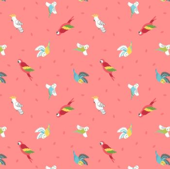 Small Things Pets Birds on Tropical Coral Lewis and Irene Macaw Parrots Budgies Parakeets Cockatoo Cotton Fabric SM29.2