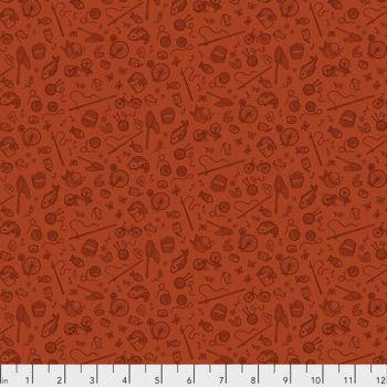 Cat Tales Rachel Hauer Essential Supplies in Rust FreeSpirit Cotton Fabric RH007.RUST