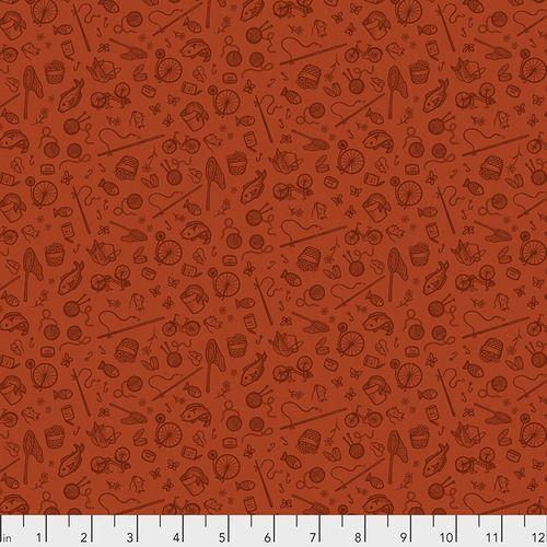 Cat Tales Rachel Hauer Essential Supplies in Rust FreeSpirit Cotton Fabric