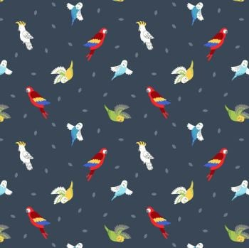 Small Things Pets Birds on Dark Blue Lewis and Irene Macaw Parrots Budgies Parakeets Cockatoo Cotton Fabric SM29.3