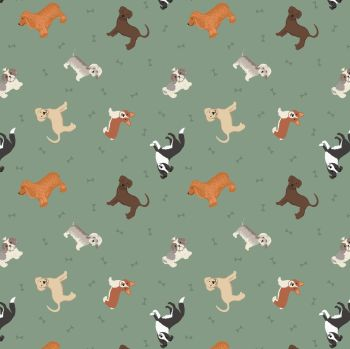 Small Things Pets Dogs on Country Green Lewis and Irene Dogs Puppies Bones Cotton Fabric SM30.2