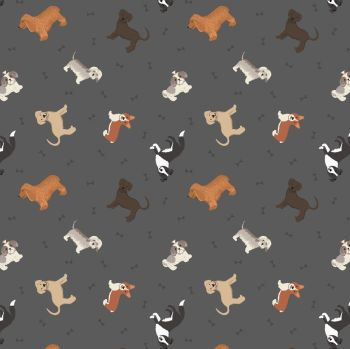 Small Things Pets Dogs on Warm Grey Lewis and Irene Dogs Puppies Bones Cotton Fabric SM30.3