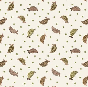 Small Things Pets Tortoises on Cream Lewis and Irene Cotton Fabric SM31.1