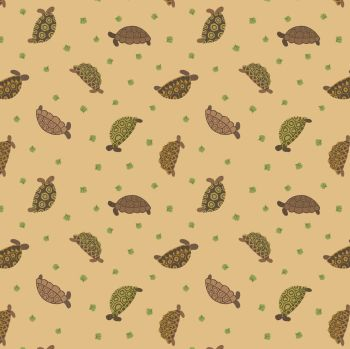 Small Things Pets Tortoises on Sand Lewis and Irene Cotton Fabric SM31.3
