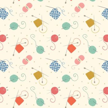 Small Things Crafts Knitting and Crochet on Natural Lewis and Irene Sewing Knitting Yarn Cotton Fabric SM33.1