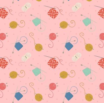 Small Things Crafts Knitting and Crochet on Pink Lewis and Irene Sewing Knitting Yarn Cotton Fabric SM33.2