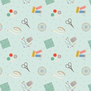 Small Things Crafts Sewing on Light Blue Lewis and Irene Sewing Scissors Pins Tape Measure Cotton Fabric SM34.1