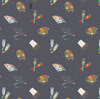 Small Things Crafts Painting on Grey Lewis and Irene Artist Paint Easel Cotton Fabric SM35.3