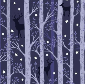 Nighttime in Bluebell Wood Forest Deer on Midnight Blue Trees Glow in the Dark GID Lewis and Irene Cotton Fabric A478.3