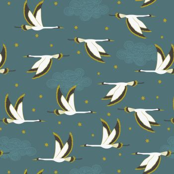 Jardin de Lis Flying Heron on Jade with Gold Metallic Lewis and Irene Blossoming Lilies Cotton Fabric A488.3