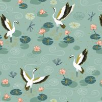 Jardin de Lis Duck Egg Heron Lake with Gold Metallic Lewis and Irene Blossoming Lilies Cotton Fabric A484.2