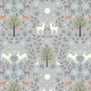 Nighttime in Bluebell Wood Mirrored Woodland on Grey Glow in the Dark GID Lewis and Irene Cotton Fabric A476.1