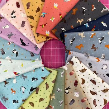 Lewis and Irene Small Things Pets 15 x 0.5m Half Metre Bundle Cotton Fabric Cloth Stack Full Collection