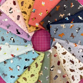 Lewis and Irene Small Things Pets 15 x Fat Quarter Bundle Cotton Fabric Cloth Stack Full Collection