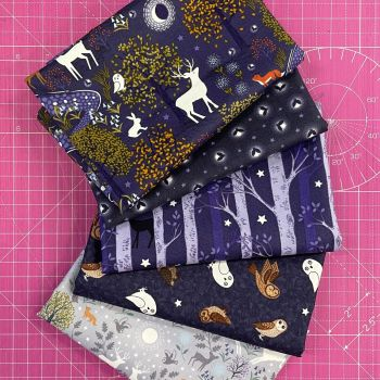 Lewis and Irene Nighttime In Bluebell Wood Glow in the Dark 5 x Half Metre 0.5m Bundle Cotton Fabric Cloth Stack
