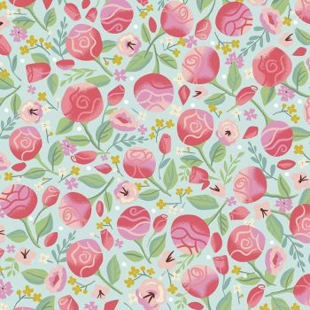 Beauty and the Beast Floral Light Blue Flowers Roses Rose Jill Howarth Cotton Fabric