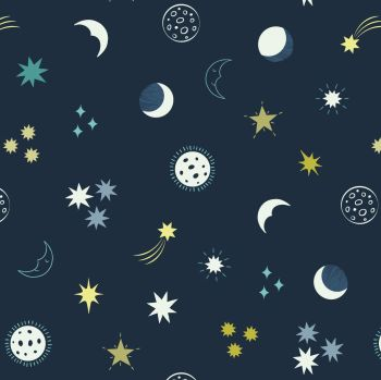 Small Things Glow Night Sky on Dark Blue Glow in the Dark GID Lewis and Irene Cotton Fabric SM38.3