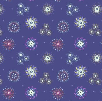 Small Things Glow Fireworks on Indigo Glow in the Dark GID Lewis and Irene Cotton Fabric SM41.2