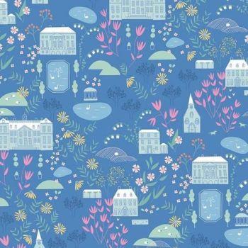 Pemberley Main in Blue Jane Austen Pride and Prejudice Elizabeth Bennet Mr Darcy Literary Cotton Fabric